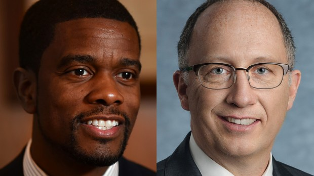 St. Paul Mayor Melvin Carter III, left, and Chris Hilger, , CEO of the Securian Financial Group