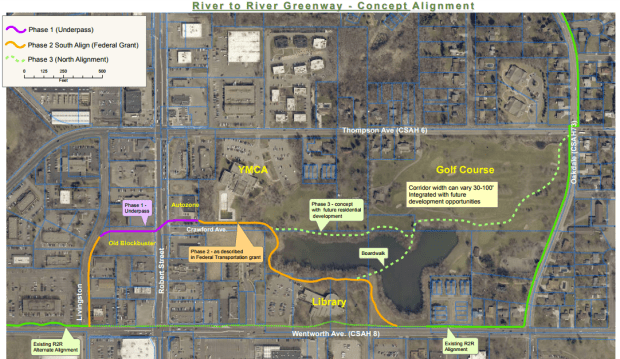 A concept plan for Dakota County's River to River Greenway trail on land that is now Thompson Oaks Golf Course in West St. Paul. (Courtesy of city of West St. Paul)