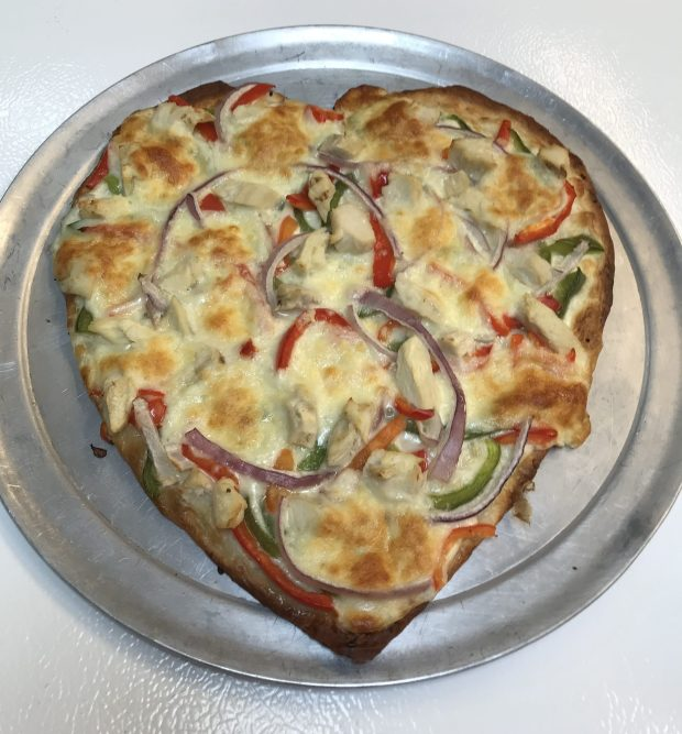 Heart-shaped gluten-free pizza at Randy's Premier Pizza in Oakdale. (Courtesy Randy's Premier Pizza)
