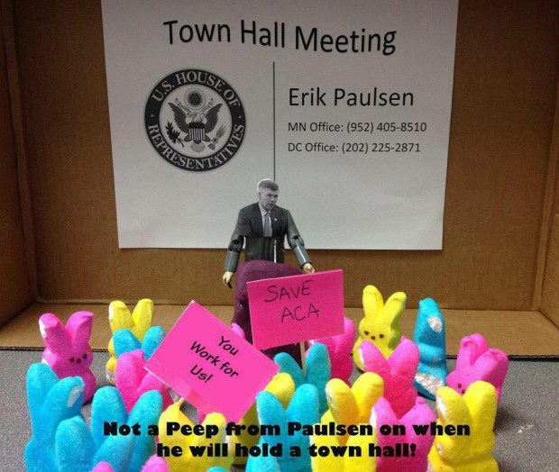 "PEOPLE'S CHOICE AWARD: ""Not a Peep from Erik Paulsen on when he will hold a tall hall,"" created by Laurie Wolfe and Kelly Befus"