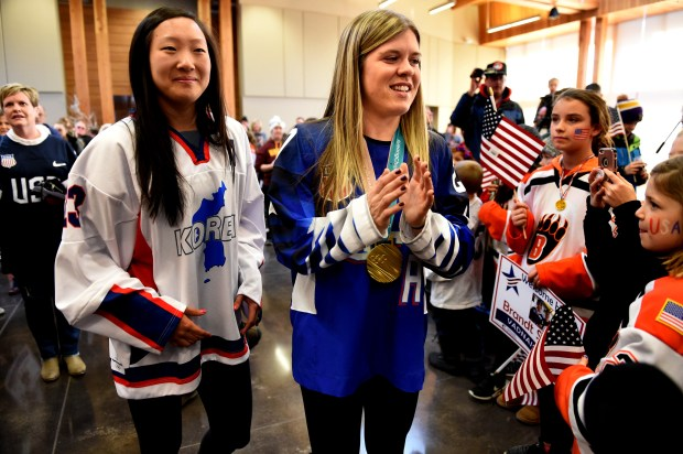 Marissa and Hannah Brandt arrive at a welcome home celebration in Vadnais Heights on Thursday, March 8, 2018. The Olympian sisters represented two different countries, with Marissa competing with the Korean Women's Hockey Team and Hannah on the U.S. Women's Hockey Team at the PyeoneChang 2018 Olympic games. (Jean Pieri / Pioneer Press)