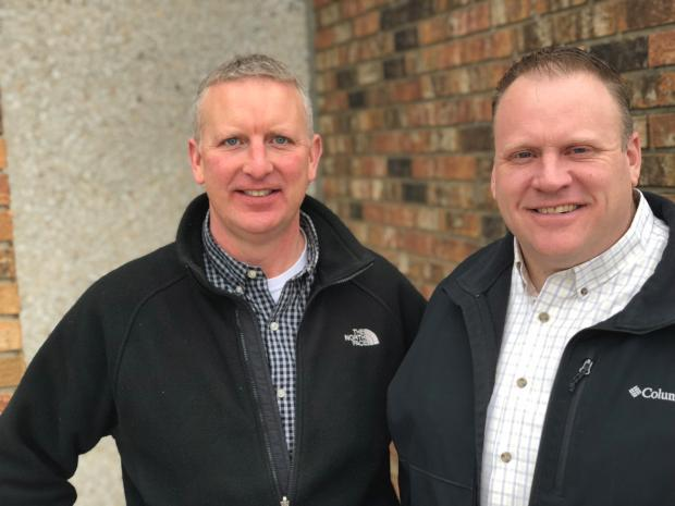 Wade Erickson of Fergus Falls, left, and Brian Rubenstein of Detroit Lakes are partners in a newly launched business called Deadshot Custom Call Company. (Courtesy of Deadshot Custom Call Company)