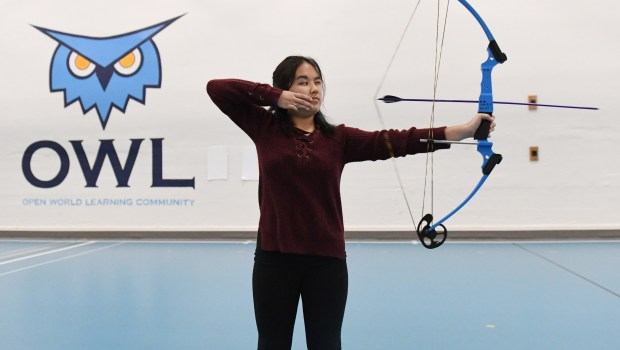Emily Yang, a junior at Open World Learning Community in St. Paul, bested her competitors with a score of 293 out of 300. at the Minnesota NASP (National Archery in Schools Program) 2018 state tournament. Yang was photographed in her school's gymnasium on March 27, 2018. (John Autey / Pioneer Press)