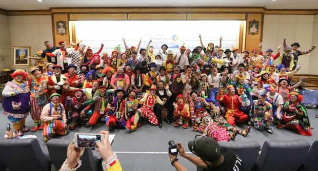 World Clown Association clowns participating in hospital fundraiser and community day in Bangkok, Thailand, in March 2017. (Courtesy of Randy Christensen)