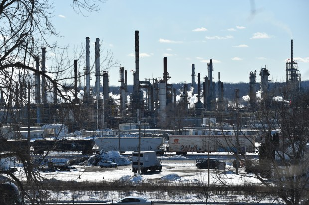 The refinery, in St. Paul Park, is owned by Andeavor, formerly the Tesoro Corp., which bought it in August 2017. Previous owners -- which include Ashland, Marathon, Northern Tier and Western Refining -- have gradually expanded a buffer zone around the refinery as homeowners voluntarily offered to sell their homes. (John Autey / Pioneer Press)