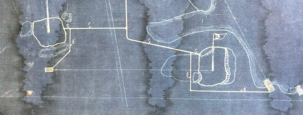 A portion of Seth Raynor's 1921 blueprint of Midland Hills Country Club shows the No. 3 hole, as designed by Seth Raynor, with a bunker fronting the green on the right and water to the left and in back. The hole now is No. 7. (Courtesy of Midland Hills Country Club)