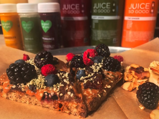 NutterBerry toast, wellness shots and cold-pressed juices at So Good So You. Photographed Feb. 7, 2018.(Nancy Ngo / Pioneer Press)