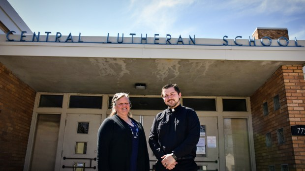 Elizabeth Wegner, principal of Central Lutheran School and Pastor Nick Kooi, a member of the association of four churches that support the school, met Saturday, April 21, 2018 to discuss the future of the school which is badly in need of new funding sources. (Deanna Weniger / Pioneer Press)