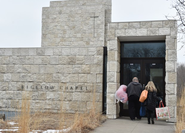 People arrive for a celebration of the 50th anniversary of the formation of the United Methodist Church at United Theological Seminary's Bigelow Chapel on Thursday, April 12, 2018. After 55 years in New Brighton, United Theological Seminary plans to move to the Hamline-Midway neighborhood of St. Paul, and charter school Global Academy will move into the seminary's campus. (John Autey / Pioneer Press)