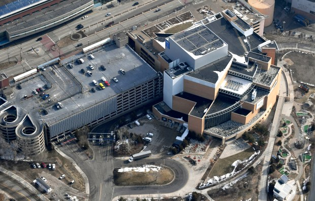 April 11, 2018 aerial photo of the RiverCentre parking ramp and the Minnesota Science Museum in St. Paul. (John Autey / Pioneer Press)