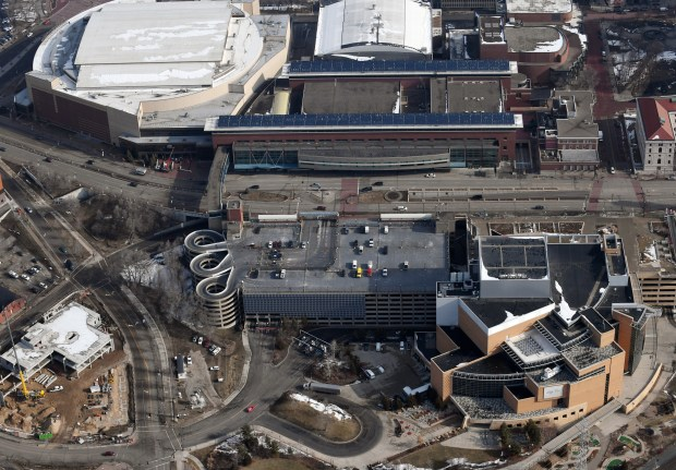 An April 11, 2018 aerial photo of the Xcel Energy Center, top left, the St. Paul RiverCentre and it's parking lot, center, and the Science Museum of Minnesota, lower right, in downtown St. Paul. (John Autey / Pioneer Press)