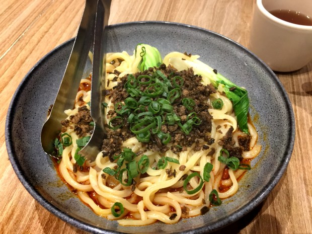 Hand-pulled dan dan noodles are seen at Szechuan in Roseville in April, 2018. (Jess Fleming / Pioneer Press)