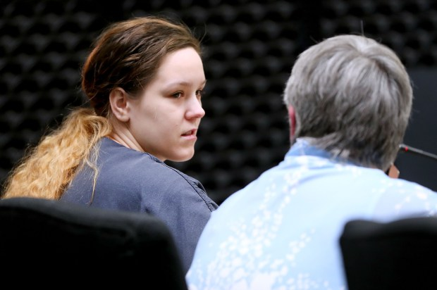 t5.24.18 Bob King -- 052518.N.DNT.MURDERc2 -- Defendant Tara Rai Baker turns to talk with her attorney Sonia Sturdevant before speaking before the judge. Bob King / rking@duluthnews.com