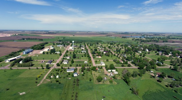 An aerial photo of Spencer taken on Friday. On Wednesday, May 30 it will mark the 20 year anniversary of the tornado that struck Spencer. (Matt Gade / Republic)