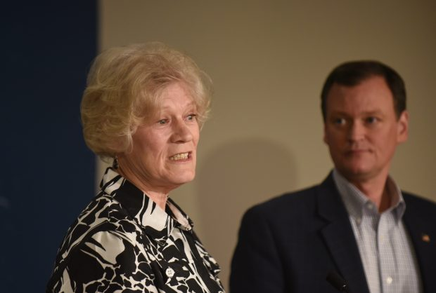 Former Minn. Lt. Gov. Carol Molnau speaks to reporters as Hennepin County Commissioner and Republican candidate for governor Jeff Johnson listens at the state Capitol Friday, May 4, 2018. (Dave Orrick / Pioneer Press)