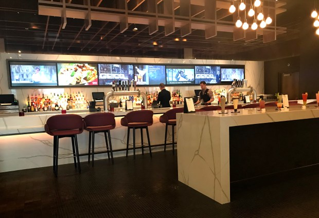 A bar area is part of the market inside CMX Cinemas at the Mall of America, May 1, 2018. (Nancy Ngo / Pioneer Press)