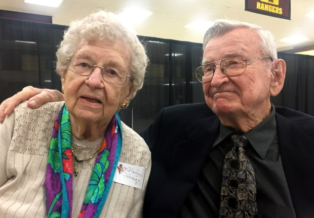 Clint Fladland, and his Forest Lake High School classmate, Gladys Elmstrom Johnson, hugged and wiped tears from their eyes when they met in the cafeteria at Forest Lake Area High School on May 21, 2018. They are the surviving members of the Class of 1938. (Mary Divine / Pioneer Press)