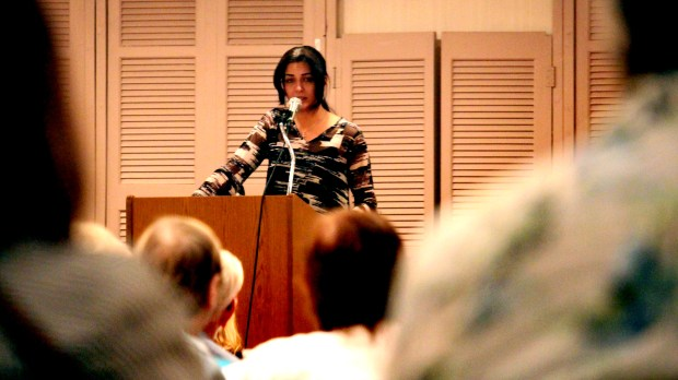 Aynaz Anni Cyrus delivers an anti-Islam message  to a crowd of more than a hundred people at the Hudson House Hotel in Hudson, Wis., on May 3, 2018.  (John R. Russett / Forum News Service)