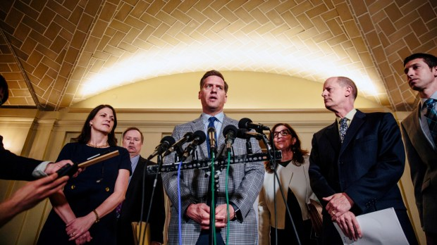 House Speaker Kurt Daudt, R-Crown, speaks to reporters at a press conference outside of the Cabinet Room after a meeting with Gov. Mark Dayton inside the Minnesota State Capitol in St. Paul, Minn. on Friday, May 18, 2018. With time winding down in the legislative session, Gov. Mark Dayton and Republican leaders were searching Friday for a compromise on a tax bill that averts a complex 2019 tax filing season and Dayton's push for additional school funding. (Evan Frost/Minnesota Public Radio via AP)