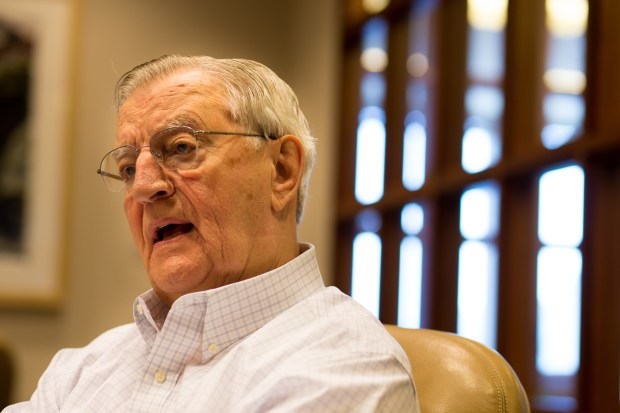Former Vice President Walter Mondale is seen here Tuesday, May 5, 2015 at Dorsey & Whitney law firm in downtown Minneapolis. Together with Wisconsin Sen. Gaylord Nelson, Mondale helped the St. Croix River become one of the first National Wild and Scenic Rivers. He'll speak on the future of Wild and Scenic Rivers May 21 in Stillwater. (Pioneer Press: Andy Rathbun)