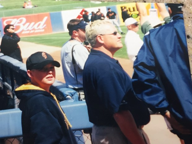 """(l-r) Addison Reed, age 8 or 9, as a spring training bat boy with Brian """"Bubba"""" Harkins, visiting clubhouse manager for the Los Angeles Angels"""