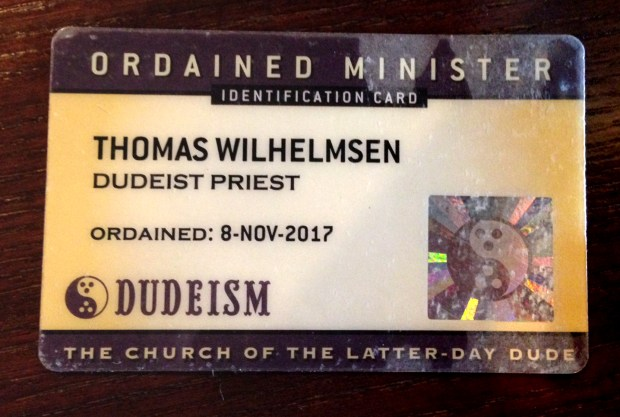 """St. Paul Saints pitcher Tom Wilhelmsen's ID card as ordained minister in The Church of the Latter-Day Dude, an homage to the protagonist in the 1998 film, """"The Big Lebowski."""" (Courtesy of Tom Wilhelmsen)"""