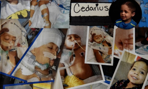 Photos of Cedarius Nanoff's hospital stay -- from April to July 2014 -- are displayed in the living room of Stacie Nanoff's home in Hastings Wednesday, June 20, 2018. Cedarius spent 3½ months at Children's Hospital and Gillette Children's Specialty Healthcare in St. Paul. He underwent four surgeries, including one on his brain. (Jean Pieri / Pioneer Press)