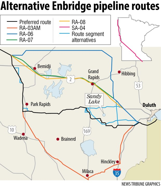Enbridge offers alternative route pipeline options across