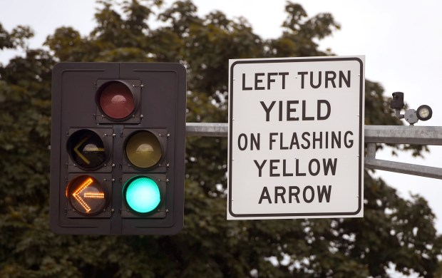 A left-turn arrow flashes at the intersection of Century Avenue and Innovation Boulevard in Maplewood on June 17, 2015. (Pioneer Press: Holly Peterson)