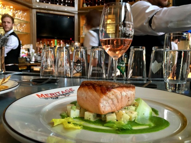 Salmon and a glass of French rose can cure anything that ails you atMeritage in downtown St. Paul. Shot in June 2018. (Jess Fleming / Pioneer Press)