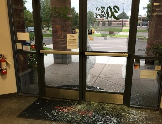 Burglars used a sledgehammer to smash through the front door of Heritage Embroidery and Design in Stillwater on June 11, 2018. (Photo courtesy of Heritage Embroidery and Design)