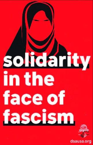 """Red background with a black silhouette of a muslim woman in a head covering, words in white text """"Solidarity in the face of fascism"""", and the DSA Logo"""