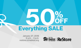 Huge Annual 50% Off Sale at Twin Cities Habitat for Humanity ReStore (2 Locations) – Saturday, Jan 27th