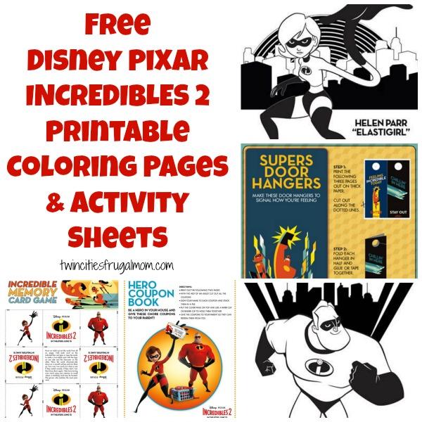 Free Disney Pixar Incredibles 2 Printable Coloring Pages Activity