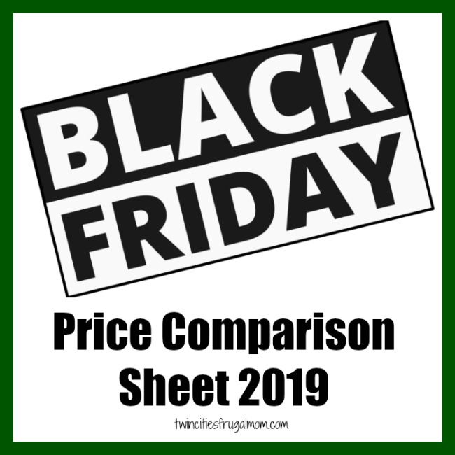 Black Friday Price Comparison Sheet 2019