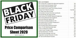 Black Friday Price Comparison Sheet 2020