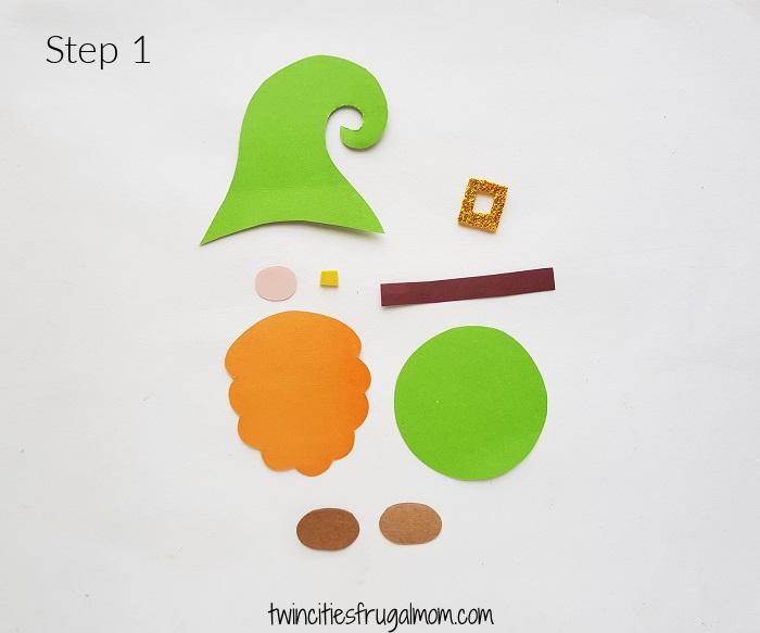 Leprechaun Gnome Paper Craft Step 1