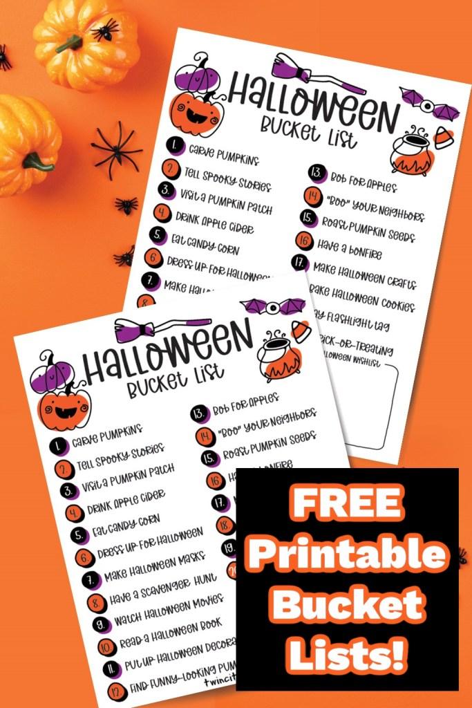 Free Printable Halloween Bucket Lists