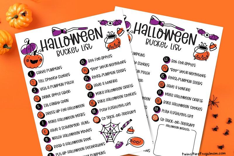 Halloween Bucket List Printables