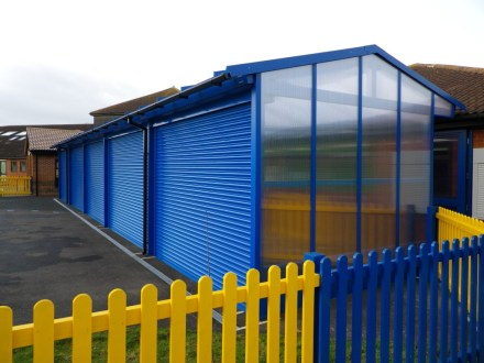 One end is weather-protected with a polycarbonate screen.