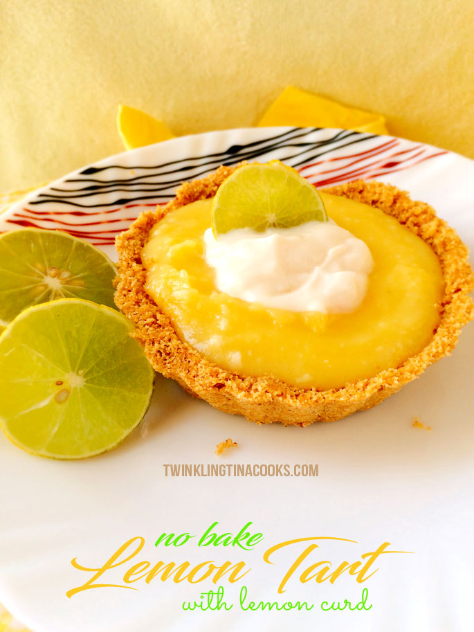 No Bake Lemon Tart with Lemon Curd | #AtoZChallenge