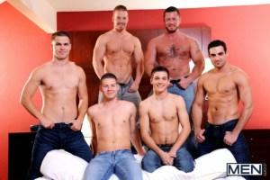 Johnny Rapid, Jimmy Johnson, Charlie Harding, Jack King, and Riley Banks fulfill Liam Magnuson's dream of being a whore (Jizz Orgy)