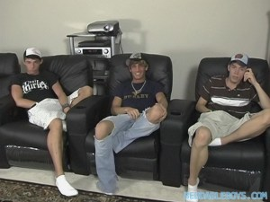 Hot kickback porn-watching solo action with Blair Mason, Jesse Jacobs and Sean Corwin (BeddableBoys)