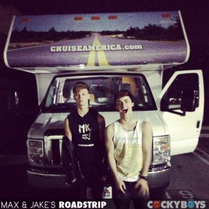 Max Ryder and Ashton Webber in the first episode of Max & Jake's RoadStrip! (Cocky Boys)