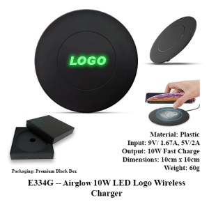 E334G -- Airglow 10W LED Logo Wireless Charger