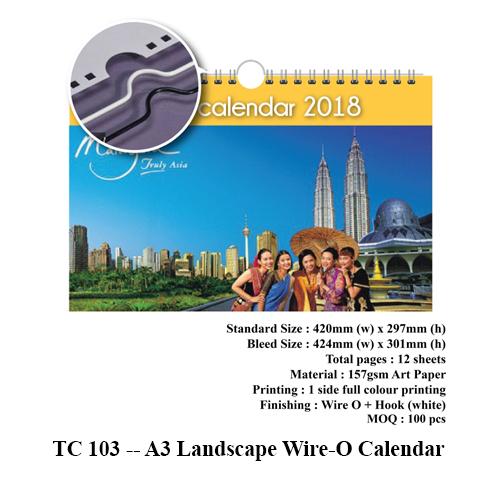 TC 103 — A3 Landscape Wire-O Calendar