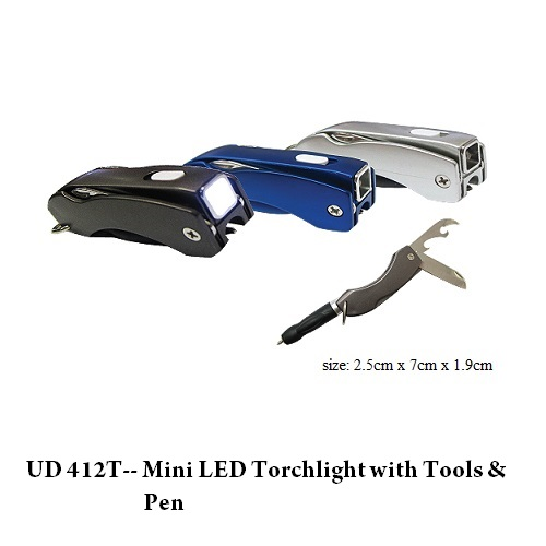 UD 412T–Mini LED Torchlight with Tools & Pen