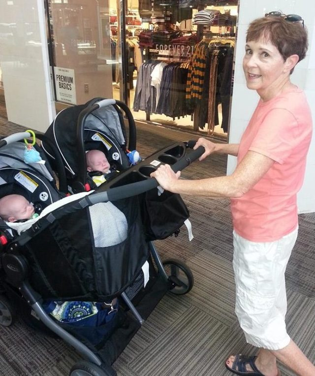 Graco Fold Duo Click and Connect Stroller and car seats shown here with Great Aunt V)