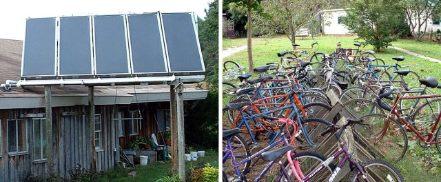 Solar hot water panels and community bicycle fleet.