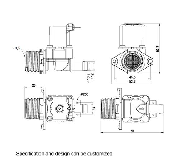 2 Way 2 Position Solenoid Valve 220V AC 26mA 0.25 inch